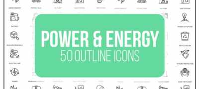 Power And Energy - 50 Thin Line Icons