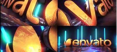 Golden Neon Logo Intro