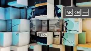 3D Cubes Wall Slideshow in 4K