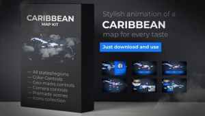Map of Caribbean Islands with Countries - Caribbean Islands Map Kit