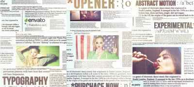 Newspaper Titles, Urban Typography Slideshow
