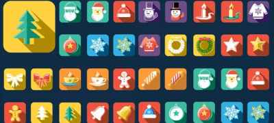 Flat Style Animated Christmas And New Year Icons