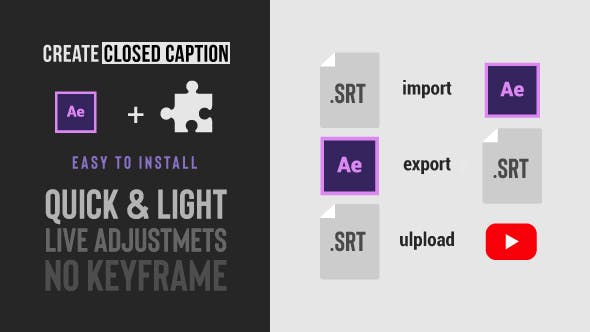 Download Social Media Video Captions Import & Export SRT files from After Effects – FREE Videohive