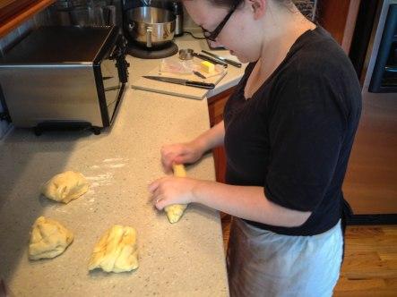 portioning dough for braiding