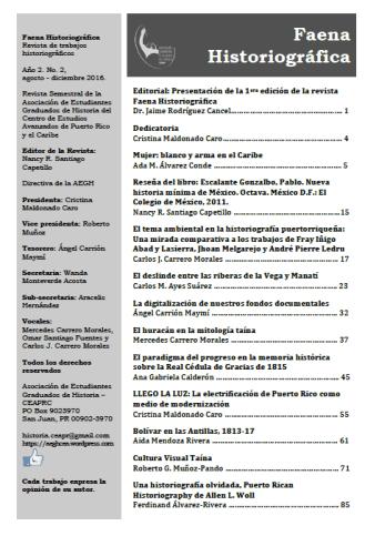 Indice de la segunda edición de la revista Faena Historiográfica.
