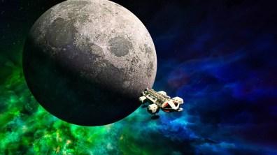 Space 1999 eagle leaving moon