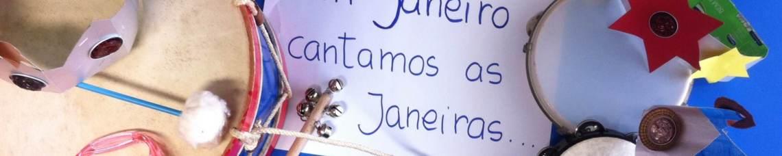 Instrumentos musicais e coroas sobre a frase Em Janeiro cantamos as Janeiras