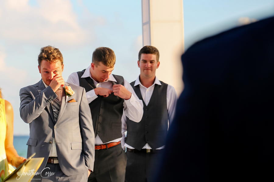 Emotional groom cries as he sees bride walk down the aisle. Jonathan Cossu Photographer