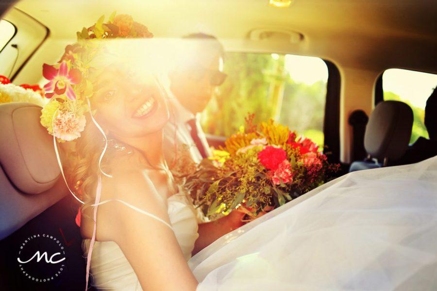 Bridal portrait heading towards the wedding chapel. Martina Campolo Photography