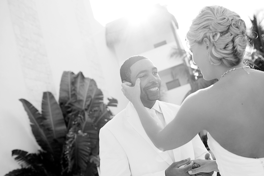 Emotional groom cries during first look. Jonathan Cossu Photographer