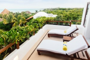 Oceanfront terrace at Hotel Esencia, Riviera Maya, Mexico.