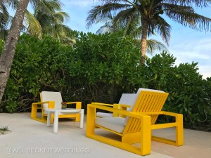 Yellow beach lounge chairs at Hotel Esencia, Riviera Maya, Mexico