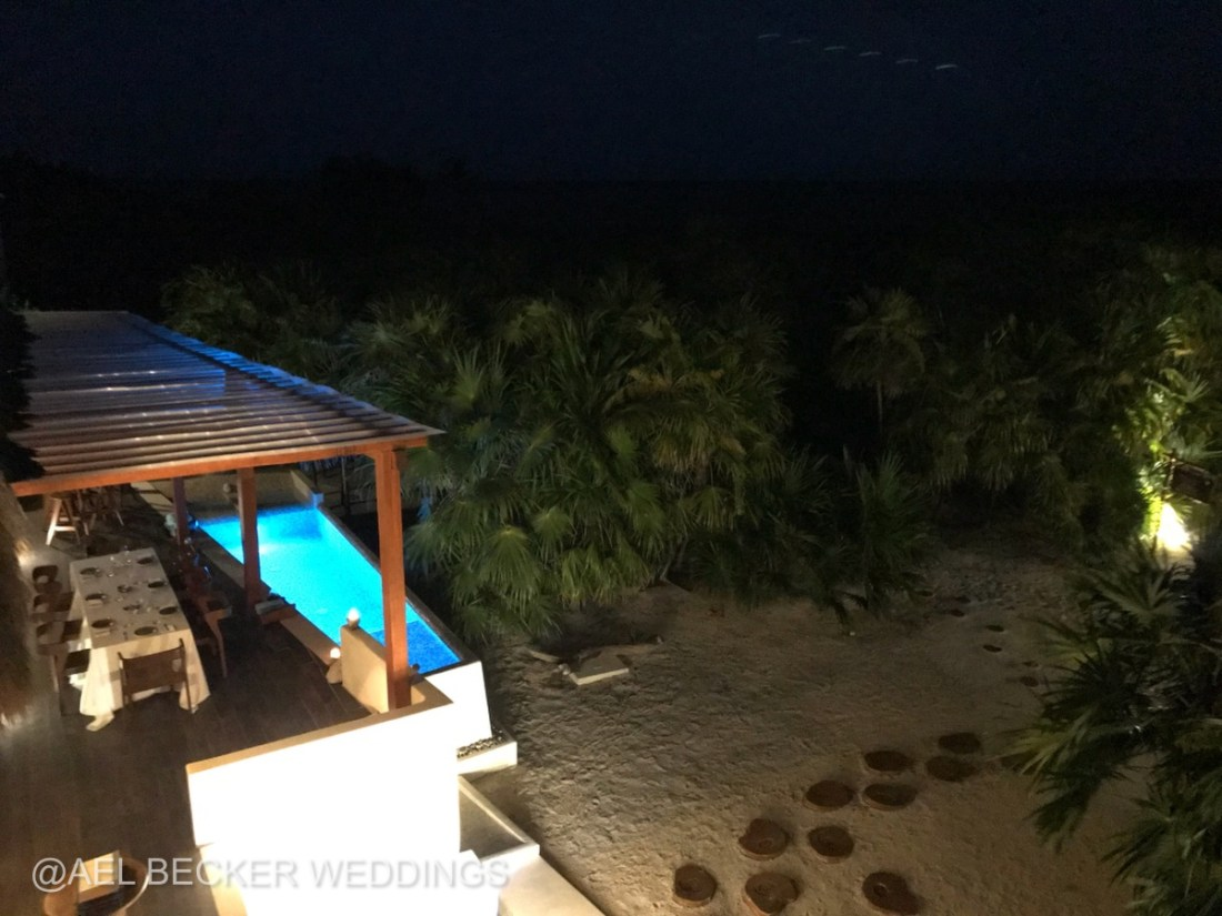 Mukan Resort by night. Dinner at the main house. Sian Ka'an, Mexico. Ael Becker Weddings