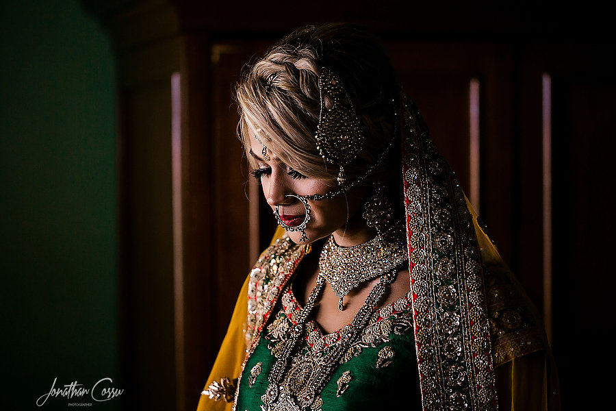 Stunning indian bridal portrait with natural light at Now Resorts by Jonathan Cossu Photographer