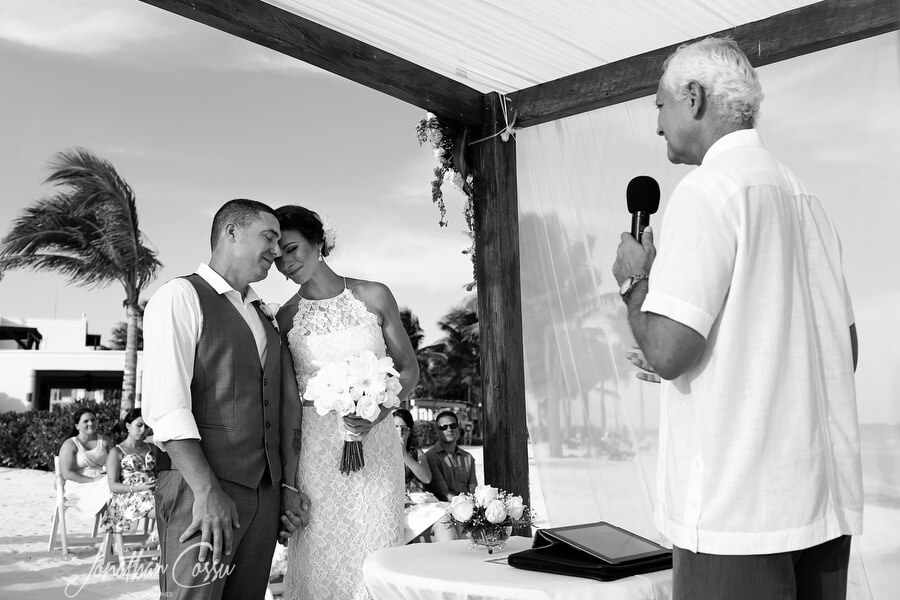 Sweet wedding moment at Dreams Tulum by Jonathan Cossu Photographer