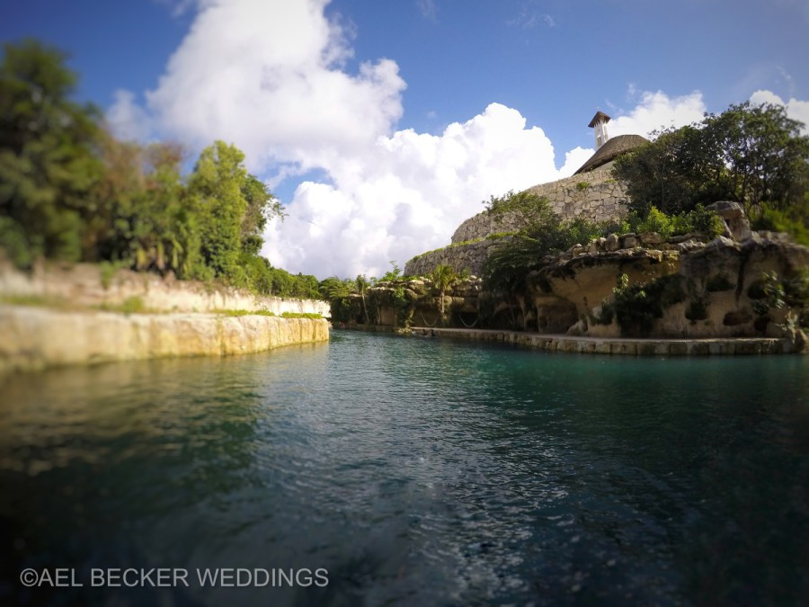 Hotel Xcaret Mexico, paddle boarding on river. Ael Becker Weddings