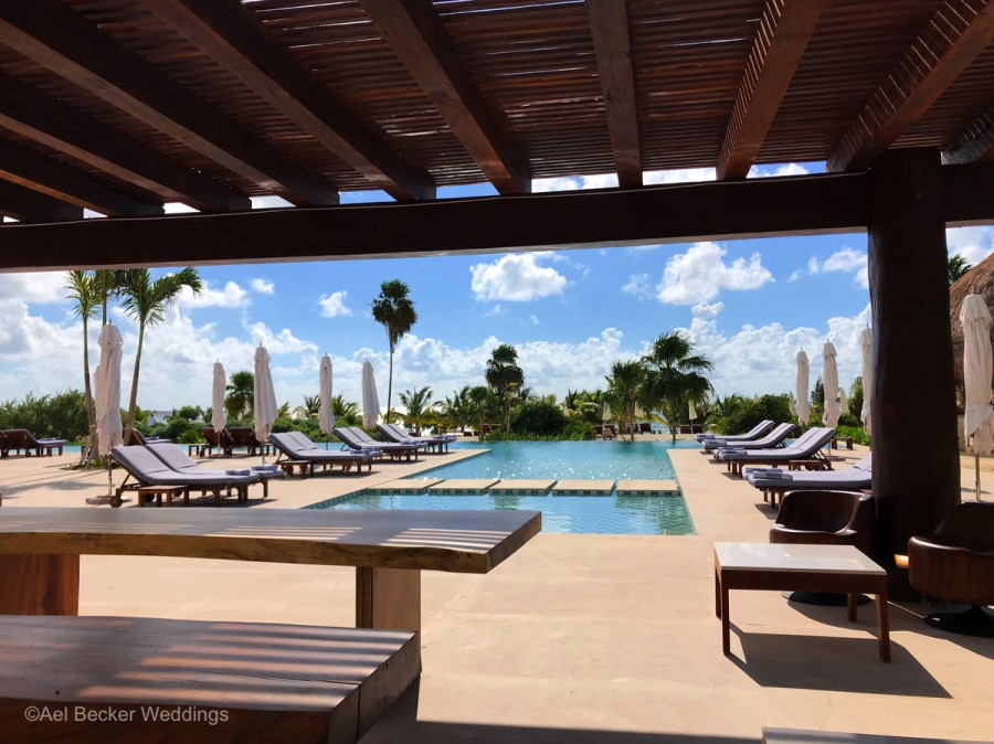 Pool and lounge chairs at Chable Maroma, Mexico. Ael Becker Weddings