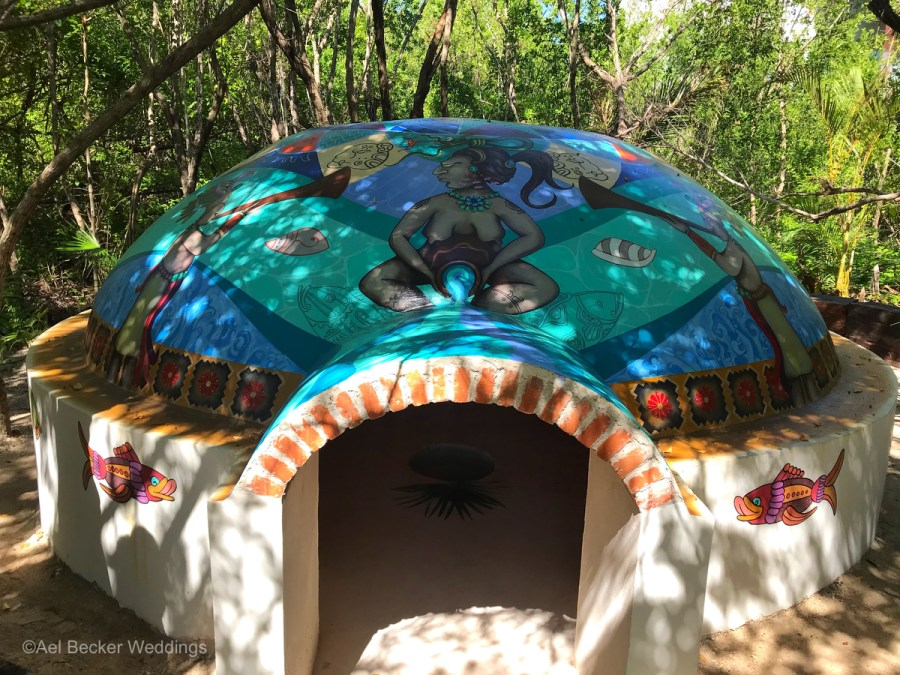 Hand painted Temazcal at Chable Maroma, Wellness Hotel in Mexico. Ael Becker Weddings