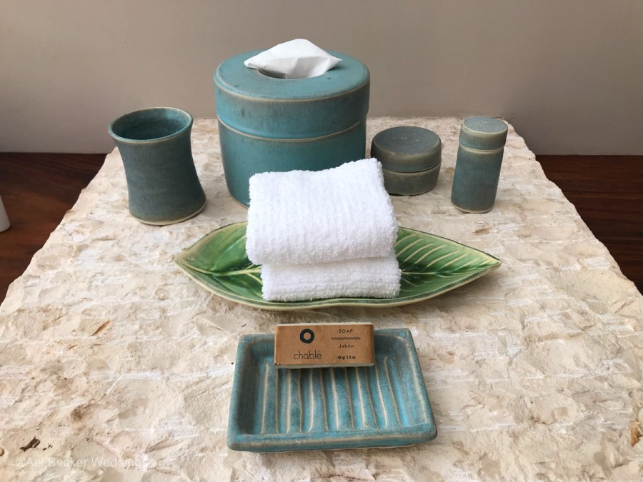 Bathroom amenities at the exclusive Chable Maroma, Mexico. Ael Becker Weddings