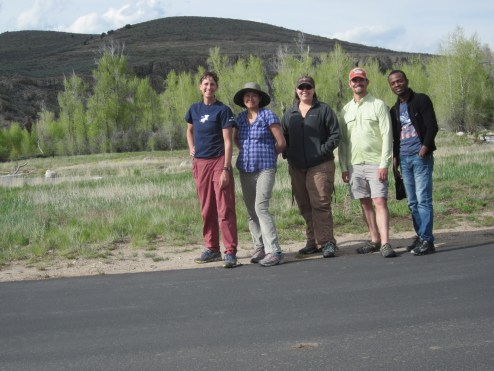 The last day work crew: Suzanne, Cindy, Didi, Jeremy, and Ayo.