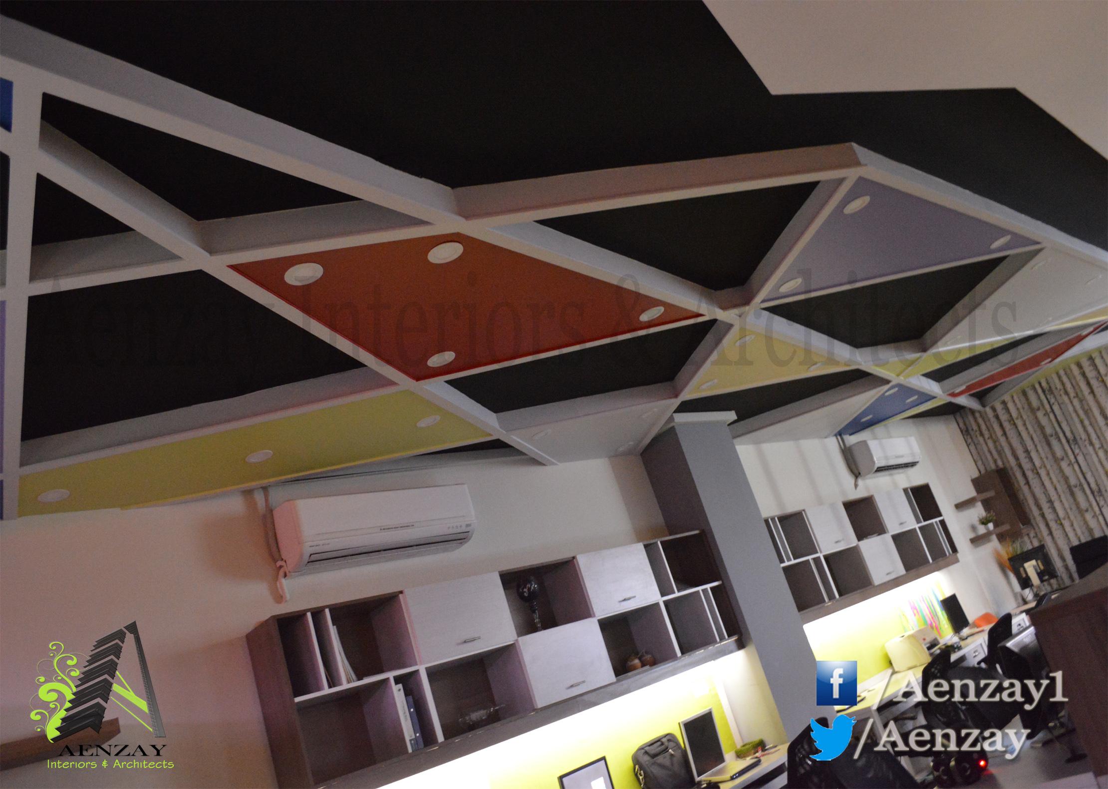 Aenzay Office Ceiling Design Aenzay Interiors