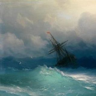 Ship in Stormy Sea by Ivan Konstantinovič Ajvazovskij (1858)