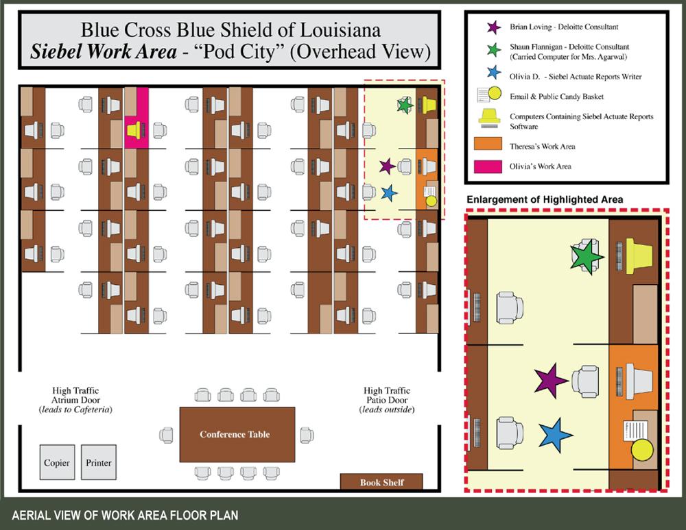 Courtroom trial graphic design: Floor plan