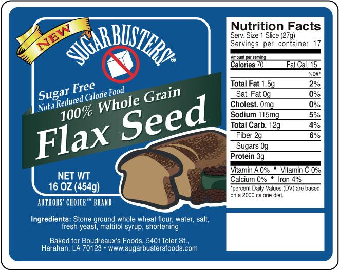 Sugar Buster Flax seed bread label