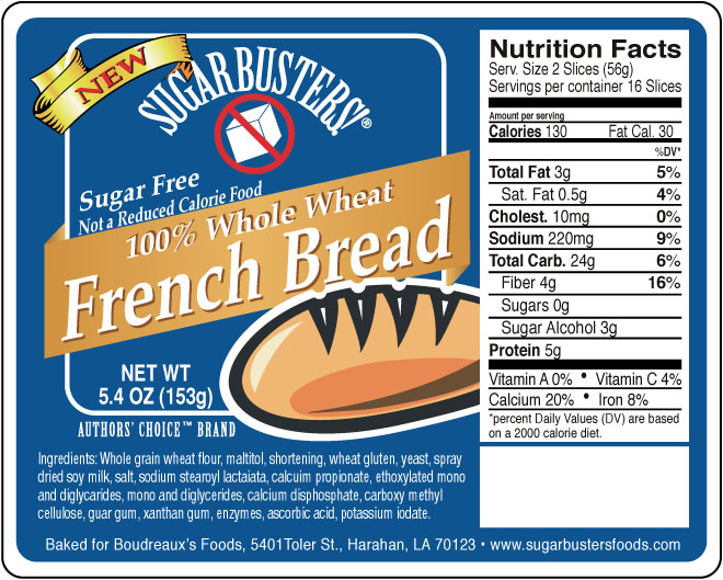 Sugar Buster french bread label