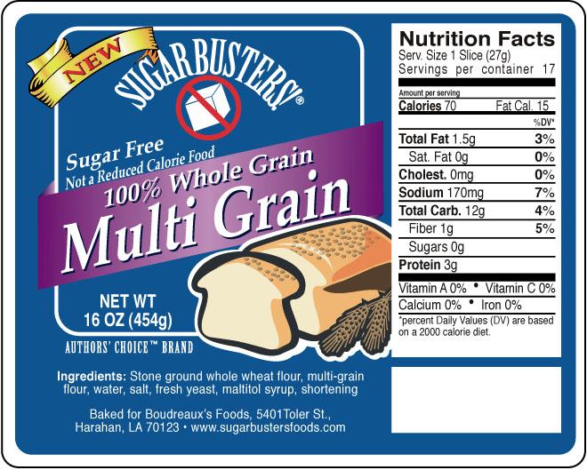 Sugar Buster multi grain bread label