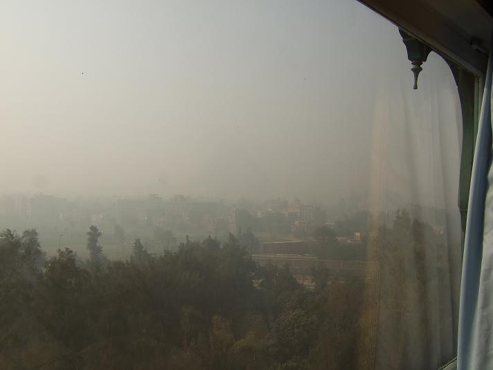 View from my hotel when the dust is flying.
