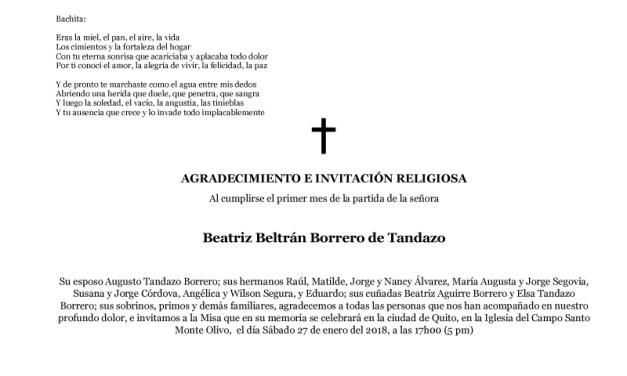 AGRADECIMIENTO E INVITACIÓN RELIGIOSA