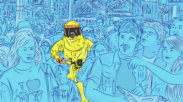Cartoon man in yellow space suit amid blue crowd.