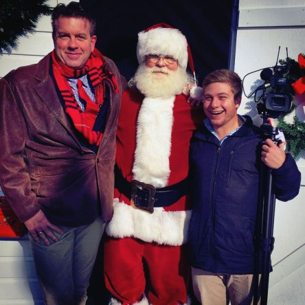 WRDE Arts & Entertainment Reporter Michael Sprouse and Cinematographer Nick Gruber hanging with the one and only Santa Claus!