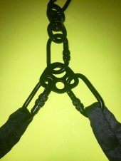 Double-point Lyra rigging with rigging plate: Carabiners are overloaded with spanset