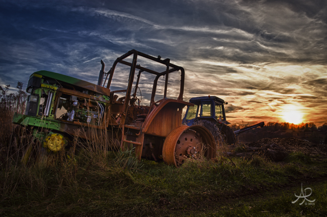 Dead Tractor at Sunset 650