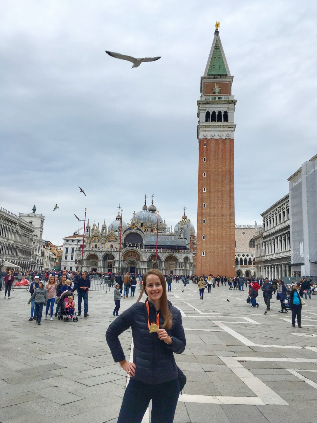 After Venice Marathon in Saint Mark's Square