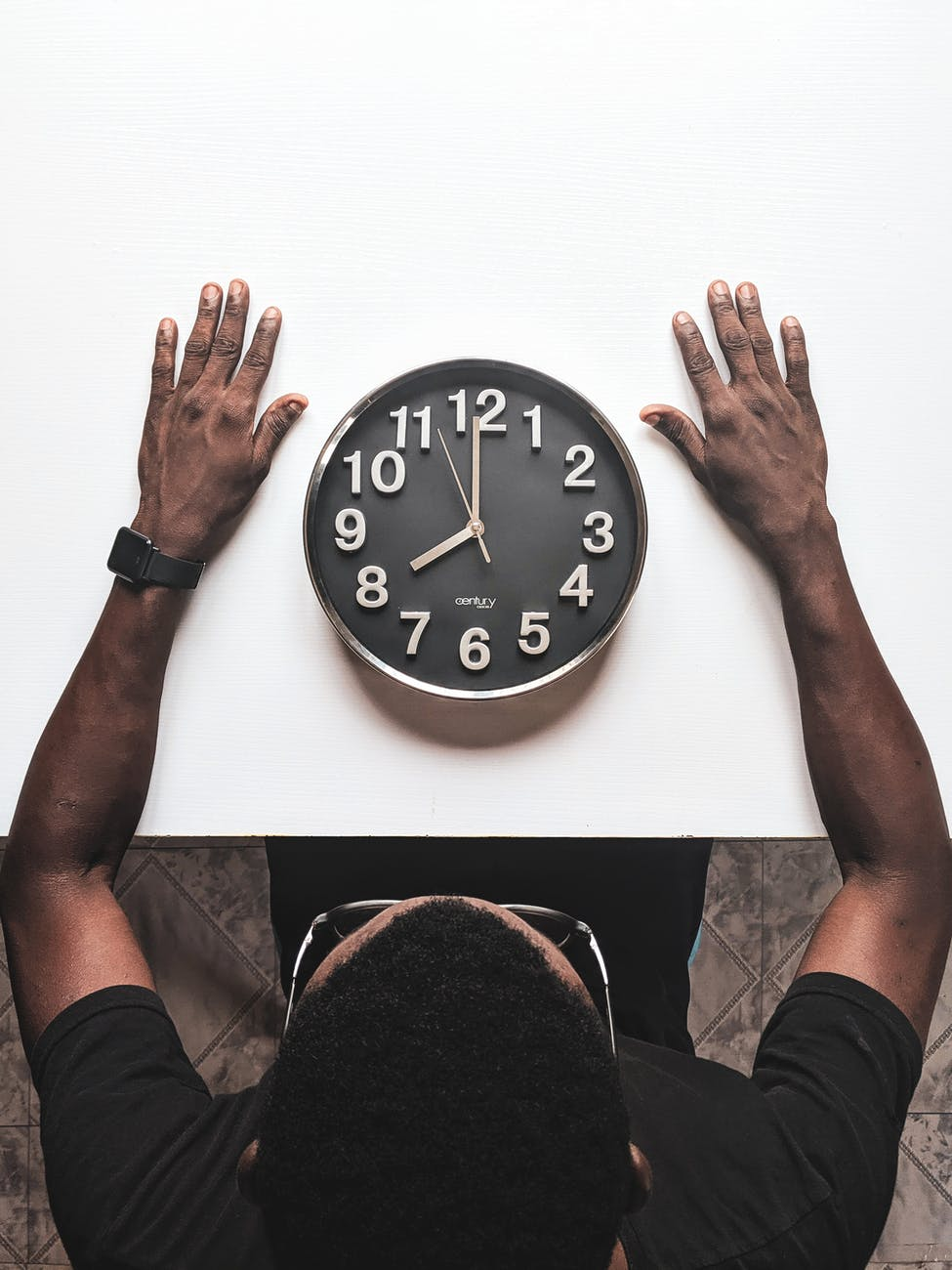 Black man with clock, image in use for article writing sequels for beginners.