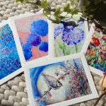 Beautiful bird and flower blank card series