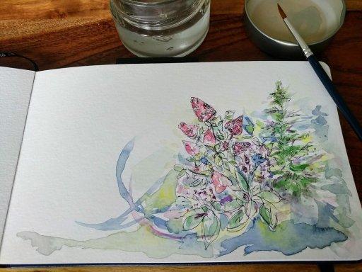 Strawberry Hydrangea painting