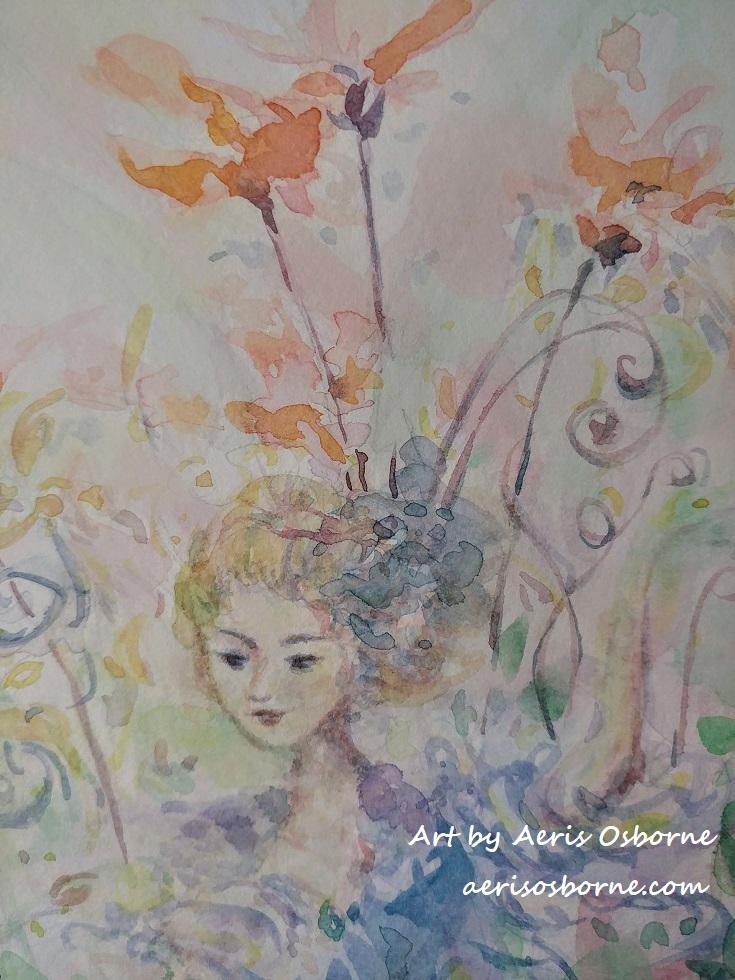 Garden Goddess Watercolor Painting