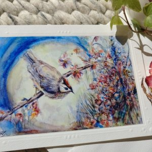 Bird And Moon Flowers blank card with envelope