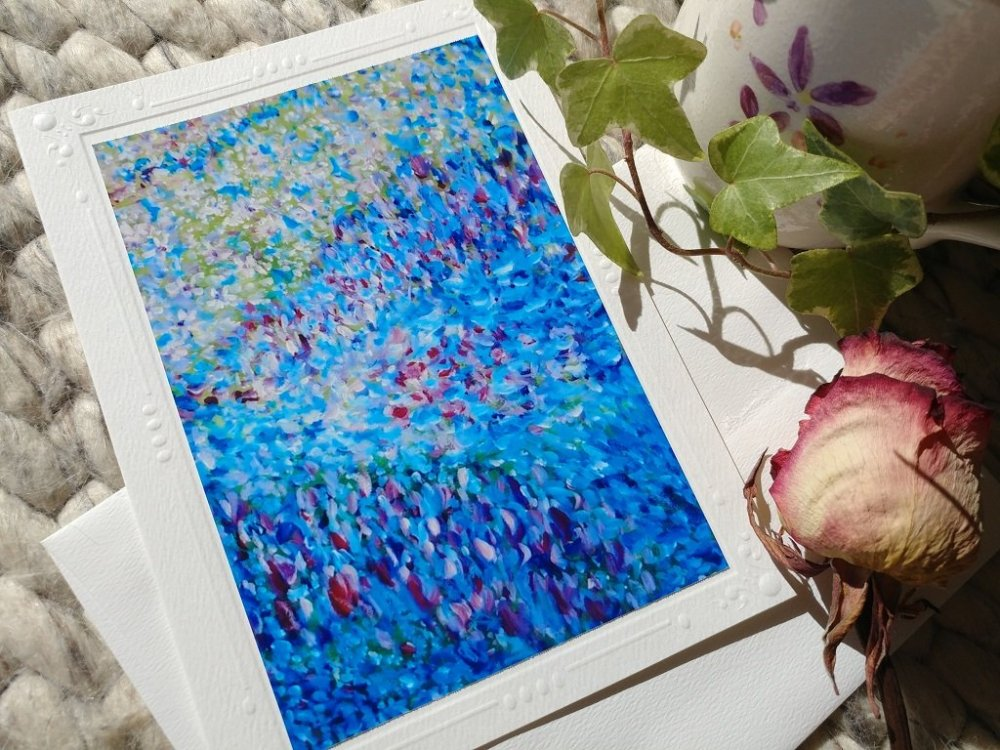 Blue Flower Waves blank card with envelope