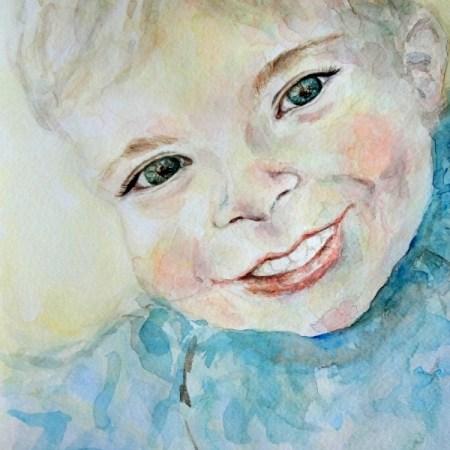 Custom Child Boy Portrait Watercolor Painting 8 x 10 , Aeris Osborne