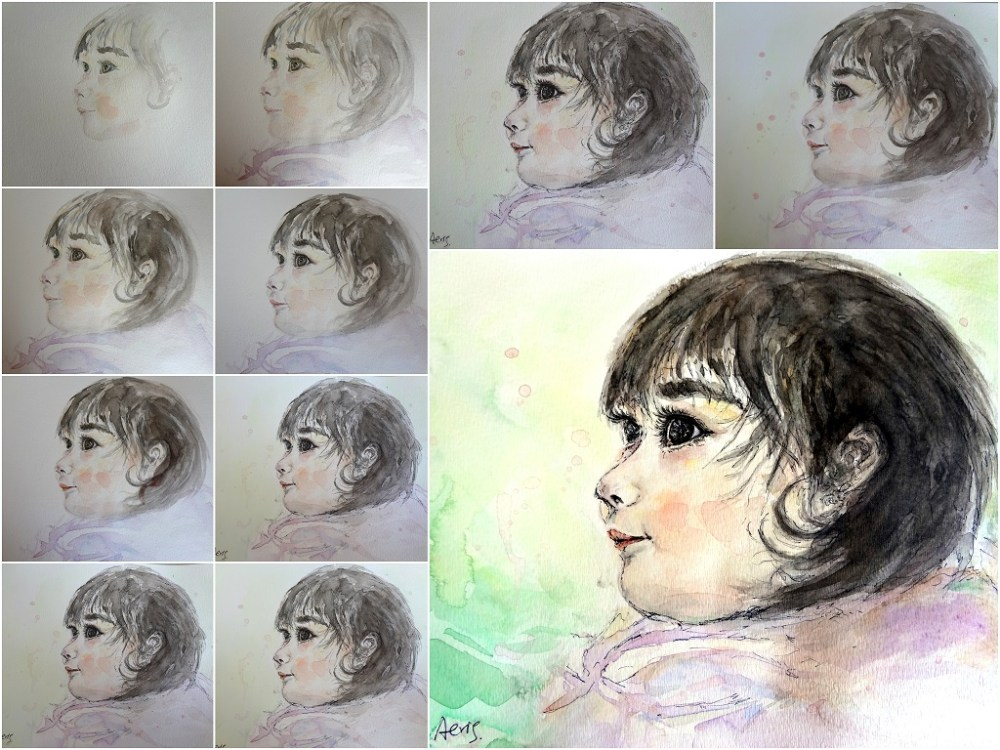 Custom Child Portrait Watercolor Painting 8 x 10 Aeris Osborne Step By Step (1024px)
