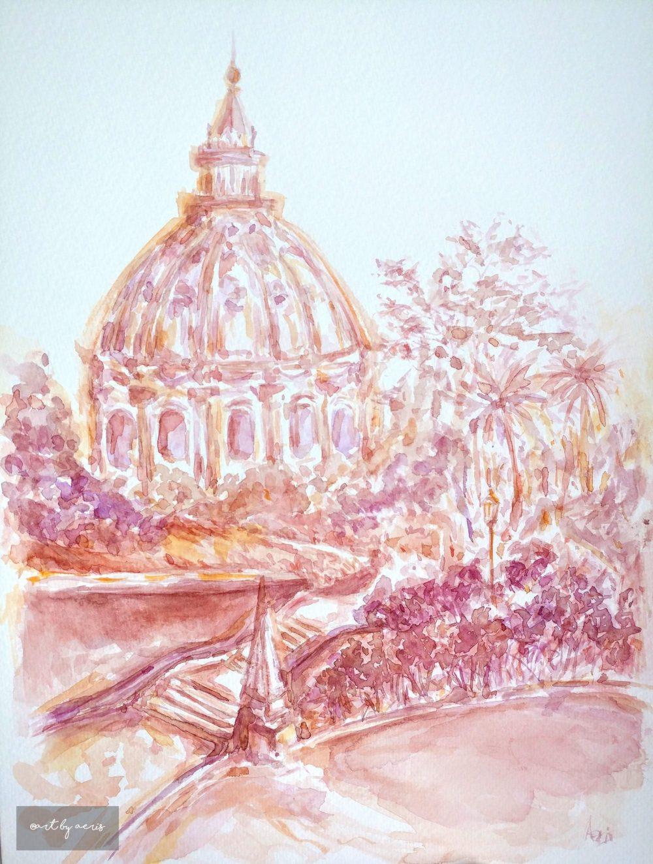 Vatican Garden Watercolor Painting