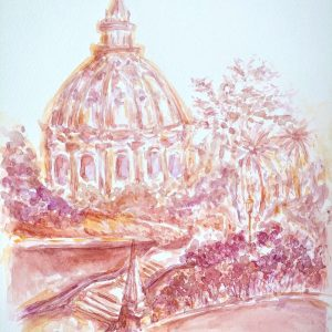Vatican Garden Watercolor Painting