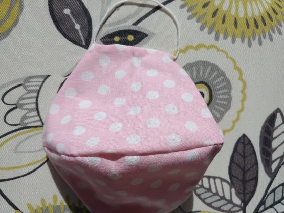 Pink Polka Dot Pattern Mask With Filter Pocket