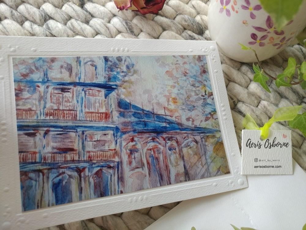Hong Kong Corner Greeting Blank Card With Artisan Envelope