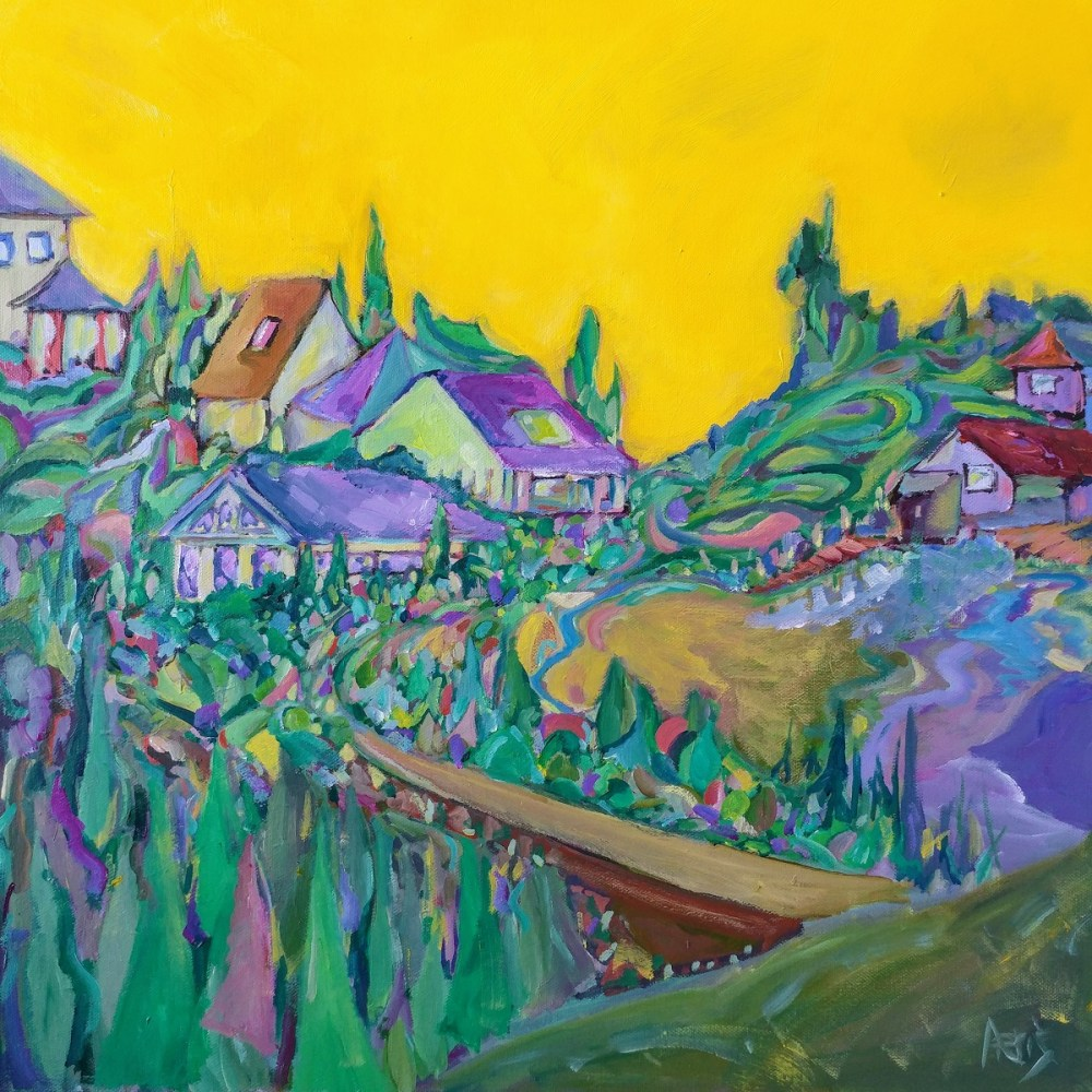 Hilly Town Acrylic Painting